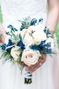 vintage something blue bouquet
